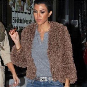 Plastic Island cropped shag jacket brown